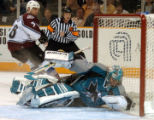(San Jose, Calif., April 24, 2004)  Colorado Avalanche's #38, Matthew Barnaby, left, watches as...