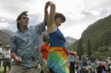 (L-R) Dana (cq) and Tamara Orzel (cq) from Ridgeway, CO  do the bluegrass swing as they dance at...
