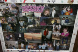 A family constructed photo montage, one of two large displays at the entrance of the memorial....