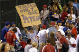 Los Angeles Angels of Anaheim vs. Los Angeles Dodgers-- Fan in right field expresses his feelings...
