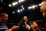 (Minneapolis,CO - Shot on 4/20/04)  The Denver Nuggets' Carmelo Anthony (center) answers questions...