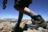 Fred Bilewski (cq), of Denver, hikes down from the top of Mt. Bierstadt near Georgetown, Colo., on...