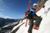 neal beidleman climbing the couloirs of the maroon bells this past june for a ski descent of the...