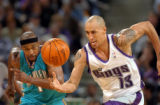 Kings guard Doug Christie gets a break-a-way steal from New Orleans guard Baron Davis during the...