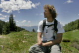 Aron Ralston(cq) takes a break in Koby Park near the Sloan Peaks Wilderness area during an 18 mile...