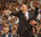 Coach Rick Adelman reacts during the third quarter of game one of the 2003 NBA Western Conference...