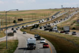 Heavy traffic makes its way up and down I-25 near the Berthoud exit, June 18, 2006. This freeway...