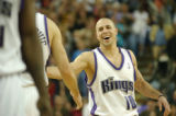 Mike Bibby celebrates after the Kings go ahead in overtime and win 96-95 between the Minnesota...