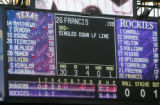 SPECIAL TO THE ROCKY MOUNTAIN NEWS--The scoreboard in left field of Coors Field has the name of...