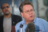Safeway spokesperson Jeff Stroh (cq) addresses the media outside of the Safeway warehouse south of...