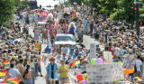 The 2006 PrideFest parade makes its way down Colfax just north of the Colorado State Capitol...