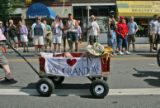 Haden Weckback (cq), 3, of Fort Collins, Colo., sleeps in a red wagon as the PFLAG (Parents...