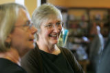 Joyce Meskis, owner of the Tattered Cover, talks with customers at the grand opening of the new...