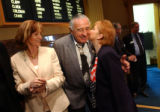 (Denver, Colo., April 15, 2004) U.S. Senator Ben Nighthorse Campbell receives a kiss on the cheek...
