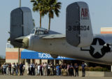 04/14/2004 Tucson, Arizona-A B-25 bomber, like the ones which bombed Tokyo in 1942, taxis on the...