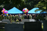 Family and friends of Patsy Ramsey gather at St. James Episcopal Cemetery in Marietta, GA  on June...