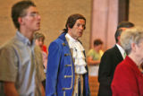 Pastor Jack Van Ens, dressed as Thomas Jefferson, walks into church to deliver his sermon on...