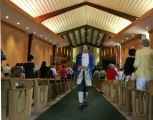 Pastor Jack Van Ens, dressed as Thomas Jefferson, leaves the church after delivering his sermon on...