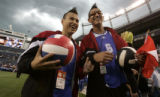 James Reindeer (cq)  and Joseph Potts (cq) volleyball players with team Alberta savor the moment...