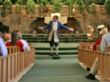 Pastor Jack Van Ens, dressed as Thomas Jefferson,  delivers his sermon on Sunday morning, July 2,...