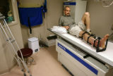 KAS022 Bruce Lamberson (cq) waits for his x-rays to be processed during a checkup at the Institute...