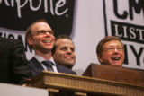 Chipotle Mexican Grill Inc. (CMG) founder and chief executive officer Steve Ells, left, and his...