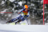 American skier Kristen Mielke on the first run of the Giant Slalom competition in the Women's Ski...