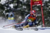 American skier Jessica Kelley on the first run of the Giant Slalom competition in the Women's Ski...