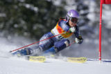 American skier Lauren Ross on the first run of the Giant Slalom competition in the Women's Ski...