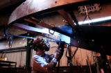 (CANON CITY., Colo., Jan 26, 2006) A welder works on a frame at the Portec Flomaster factor in...
