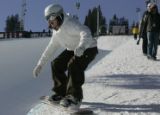 Kelly Clark from Mount Snow  practices on the superpipe at the ESPN Winter X Games  Friday morning...