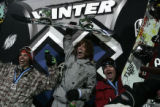 (L-R) Mason Aguirre(silver) Shaun White (gold) and Scotty Lago (bronze) celebrate winning their...