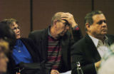 Eugene ODea (cq) listens to information at the meeting for United Airlines workers Tuesday morning...