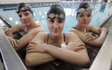 Highlands Ranch swimmers  (L-R) Colleen Schweitzer (cq) Lisa Caprioglio (cq) , and Samantha Dole...