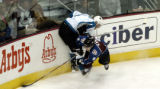 (Denver, Colo., May 4, 2004) Colorado Avalanche Paul Kariya and San Jose Sharks Kyle McLaren...