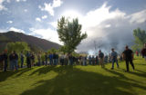 (Glenwood Springs, CO, Shot on 061004) Nearly a thousand people line of for food during an...
