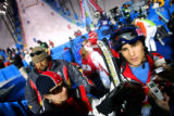U.S. Moguls skiier Jeremy Bloom (right) talks about his disppointing 6th place finish in the...