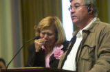 Darin McGregor/Greeley Tribune Olivia and Raul Flores, parents of Zuri and Isai Flores, testify...