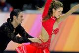 American figure skating couple Tanith Belbin (right) and Benjamin Agosto (left) perform during the...