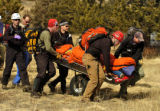 Rescues crews bring Shaun Green to a Flight For Life  helicopter Sunday afternoon February 2,...