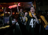 Pittsburgh Steelers fans Joe Lavorini (cq), 19, front and cousin  Julie Lavorini (cq), 31, back,...