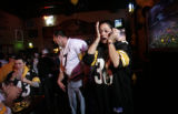 Pittsburgh Steelers fans Nicole Edmondson (cq), right, fights back tears of joy as she talks with...
