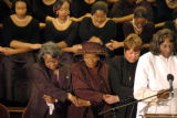 "060205 ATLANTA,GA.: With a backdrop of the Spelman College Glee Club singing ""We Shall..."