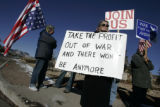 (Denver, Colorado, 2/21/2006) Fran Allison (cq), from Westminster, came out to protest President...