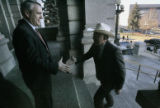 U.S. Senator Ken Salazar, right, greets democratic candidate for Colorado Governor, Bill...