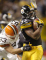 11/13/2005 PITTSBURGH :  Pittsburgth Steelers Joey Porter is taken down by the Browns Aaron Shea...