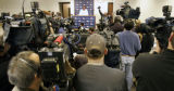 Broncos CB Champ Bailey speaks during a press conference  after practice at the Denver Broncos...