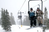 (MONARCH, CO., Jan 19, 2006) Snow boarders, Carlos Diaz and Michael Brown, both from Pueblo...