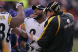 156 Pittsburgh Steelers running back #36 Jerome Bettis and relief QB #8 Tommy Maddox celebrate...