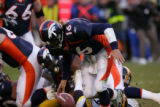 1812 Broncos quarterback #16 Jake Plummer fumbles the ball on a fourth and 10 to go during the...